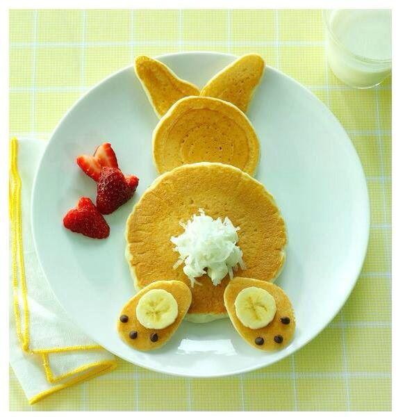 bunny butt pancakes are a great thing for kids on Easter morning