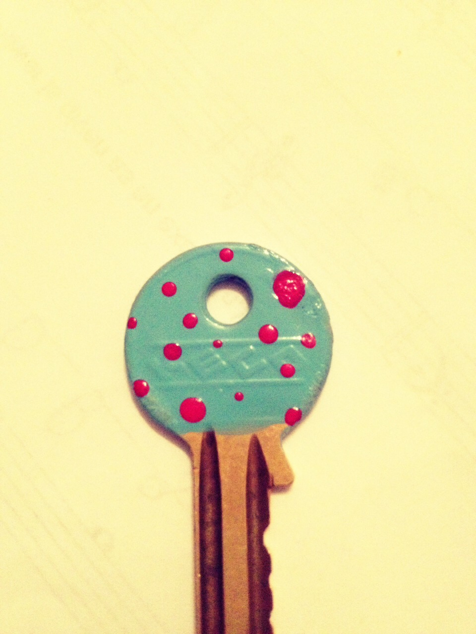 Start by painting your key using nail varnish