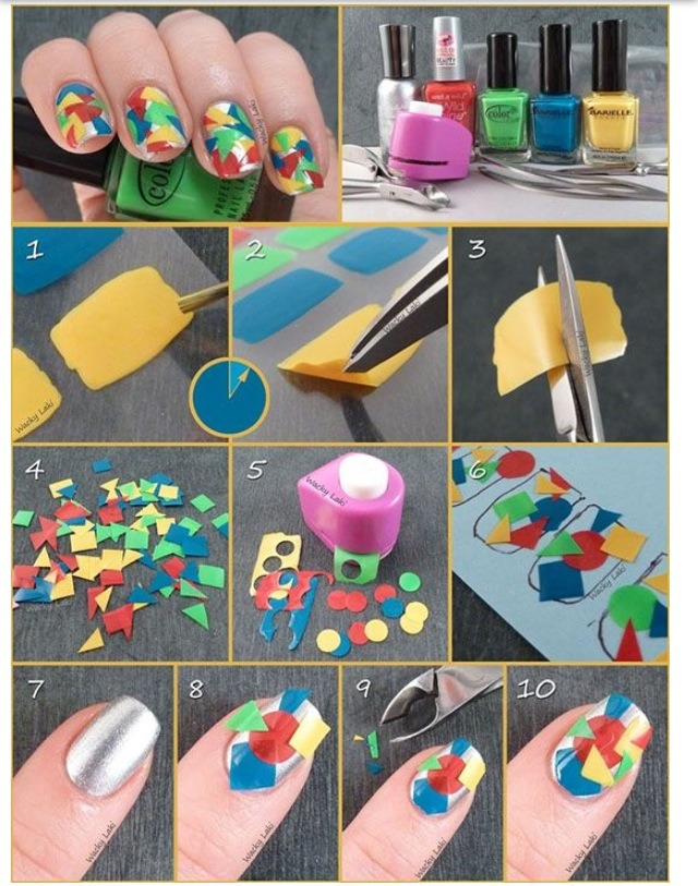 Paint a block of your choice color onto a ziplock bag and let it dry. Peel off and cut into any shape! They easily stick onto your nails so just apply a clear top coat to seal your cool design!