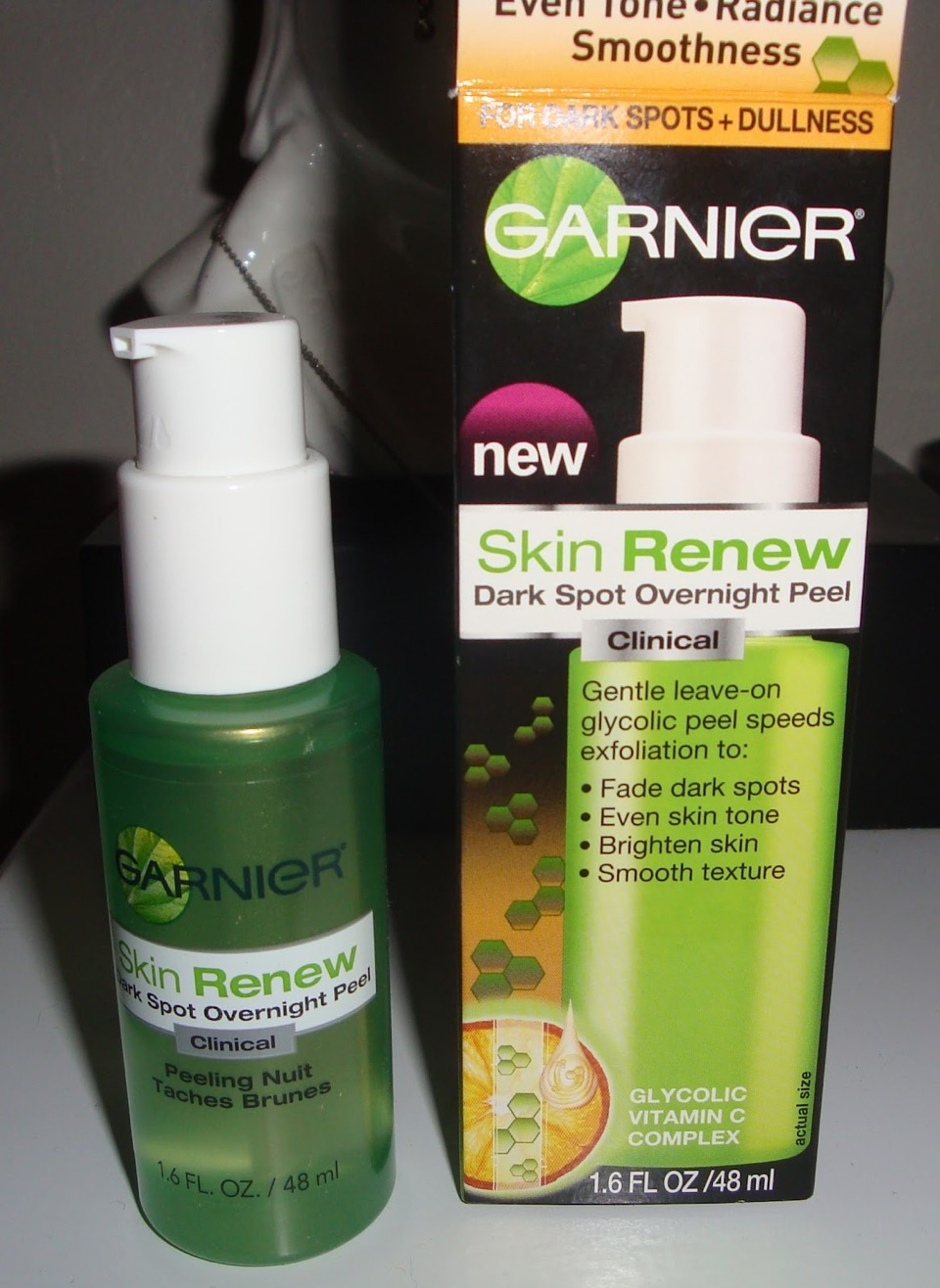 Garner skin renew dark spot overnight peel: This leave-on glycolic peel will help fade dark spots, even out skin tone and brighten and smooth your skin. With glycolic vitamin C to gently exfoliate and polish, this peel is non-comedogenic and won't clog your pores while you snooze!
