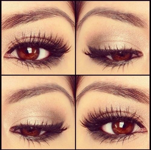 Start w. a shiny white color on eyelid , take a black shade & gently apply on the outer part of eyelid , blend the black softly to get a softer finish , bring some of the black eyeshadow under your water line to create a soft smokey look . Apply black gel/liquid eyeliner , apply fake eyelashes ♡