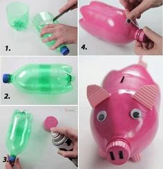1.Cut a soda bottle with the half cuted 2.stick the two halfs together 3.paint them pink 4.stick Goggly eyes , cut a small line where you insert money    Done👌😘