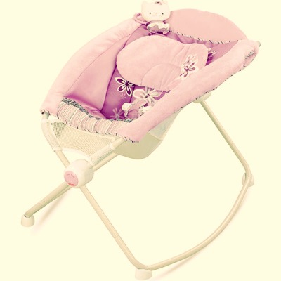 Baby rocker by fisher price. I use this for travel since it so easily fold up. My little one falls right to sleep every time!!