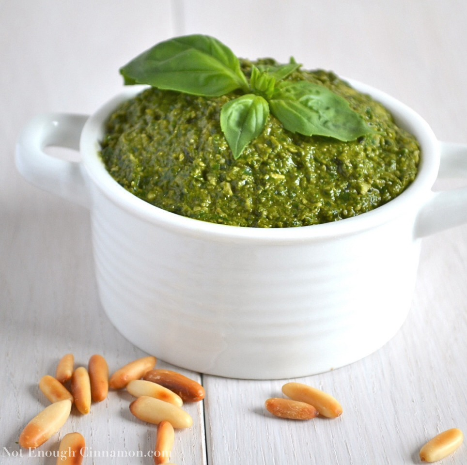 Ingredients:  2 cups fresh basil 1/2 cup Parmesan cheese 1/2 cup olive oil 1/3 cup pine nuts  3 garlic cloves Salt and pepper to taste   In a food processor pulse the basil and pine nuts a few times. Add the cheese and garlic and pulse a bit more. Then slowly add in oil while pulsing.