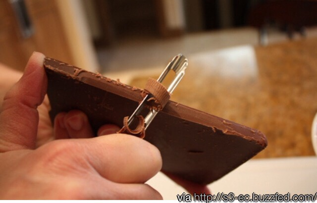 Use a potato peeler to make chocolate peels for garnishes