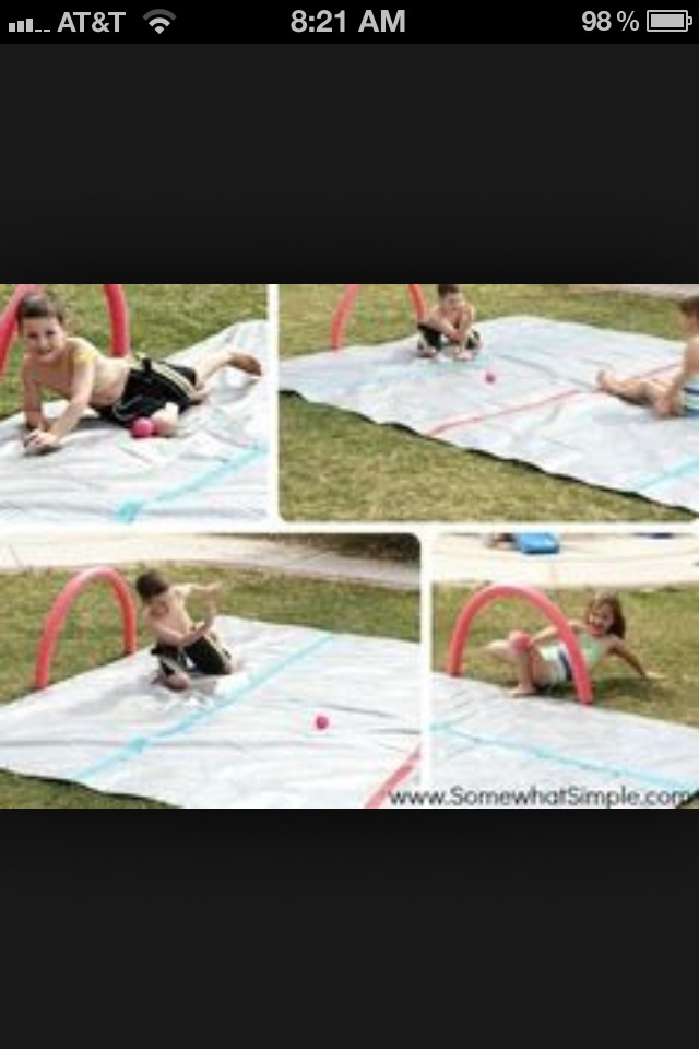 2.) MAKE A HOCKEY MAT!! I used a tarp and then I spray painted some lines. And use pool noodles for the goals!