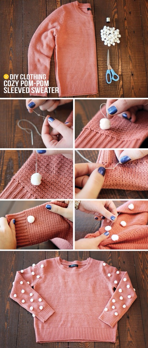 How to: 1. Thread your needle, then tie a knot at the end of the thread.  2. Start on the inside of your sweater and stitch up through the center of the pom pom, then back down through the pom pom and the sweater. Repeat 2-3 time to secure the pom to the sweater.