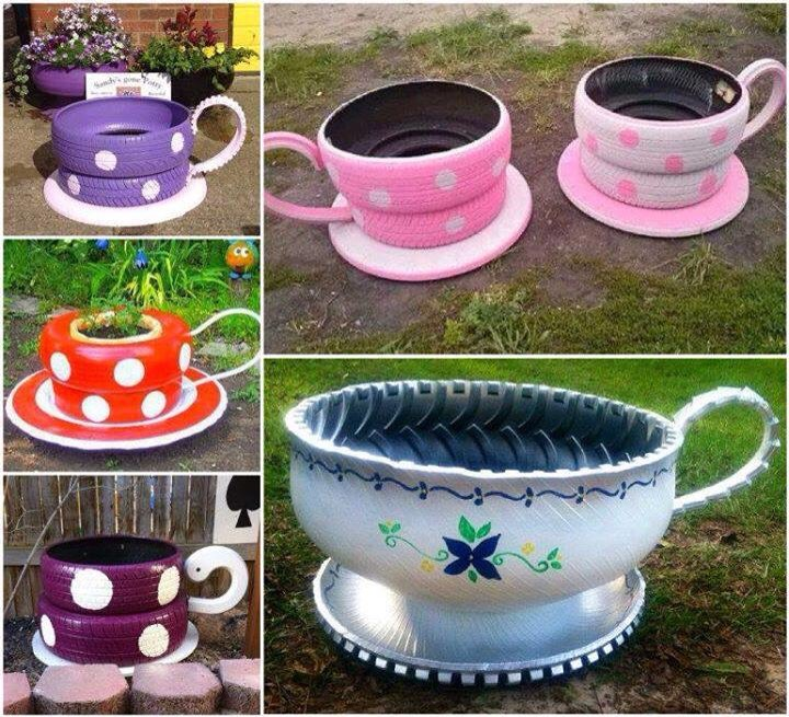Old tire into cute lawn teacups