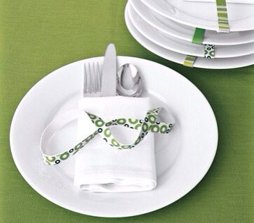 Separately stacked plates, silverware, and napkins take up precious buffet-table real estate (plus someone always ends up with two forks and no knife).