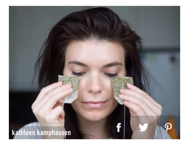 14. Place cold green tea bags to get rid of puffiness under your eyes.