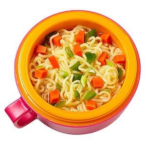 Ramen noodles (minus the seasoning pack) in chicken broth with veggies  Rice crackers  Plum