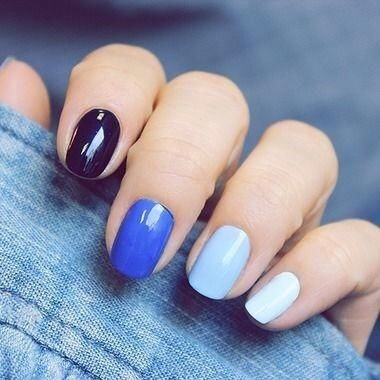 Use similar colors (or add more white to one color on each nail)