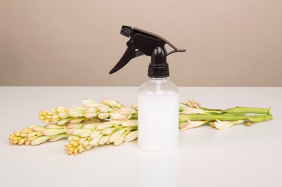 You will need Empty spray bottle (I used a standard 12 oz. bottle, but it would be great to make a travel-size version, too) 2–3 Tbsp. regular conditioner Hot (not boiling) water optional: essential oil of your choice.