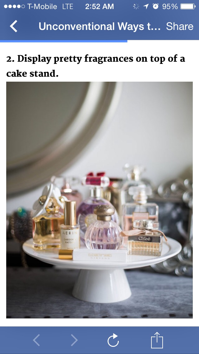 Display pretty perfumes on top of a cake stand!