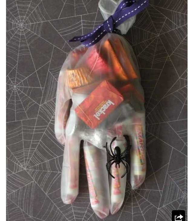 Party favors in surgical gloves