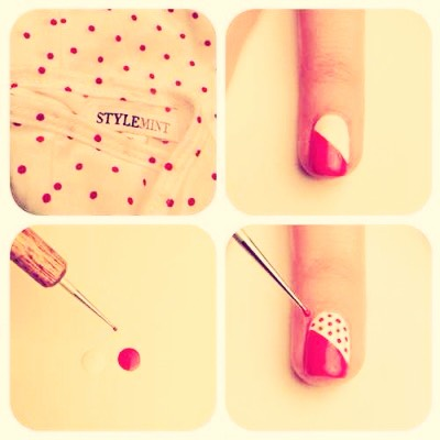 This is such an easy nail design for the dots all u need to create them is a bobby pin 🌟🌟🌟