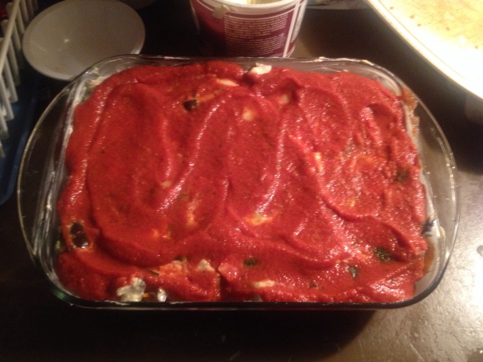- Add tomato sauce ** any kind as long as all veggies are covered**
