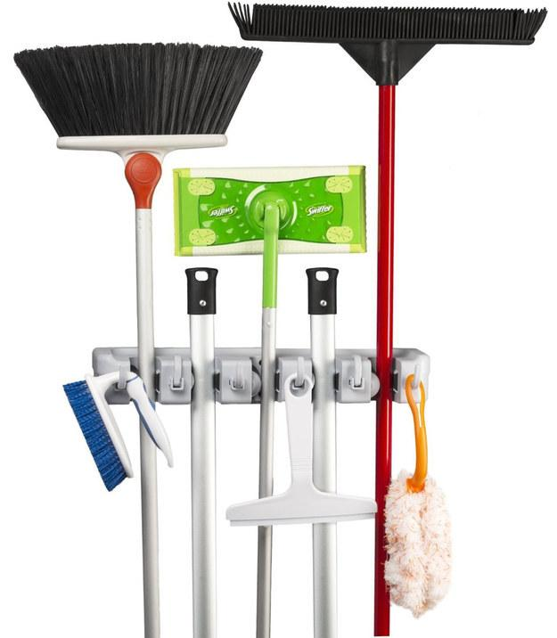 30. Hang your brooms and mops upright instead of storing them on the floor.