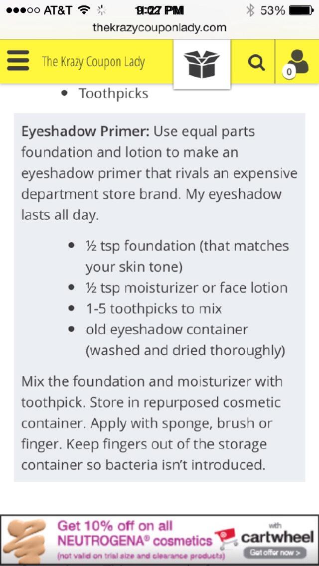 Eye shadow primer recipe 👆👀🙈