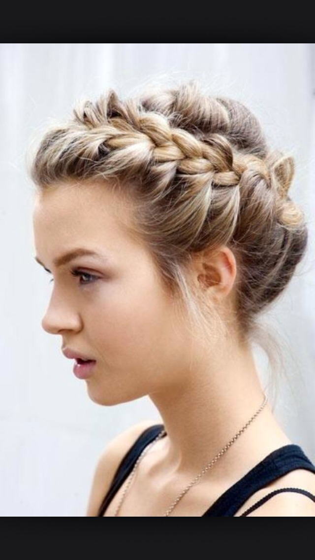 French braid in top and warp it around your head.