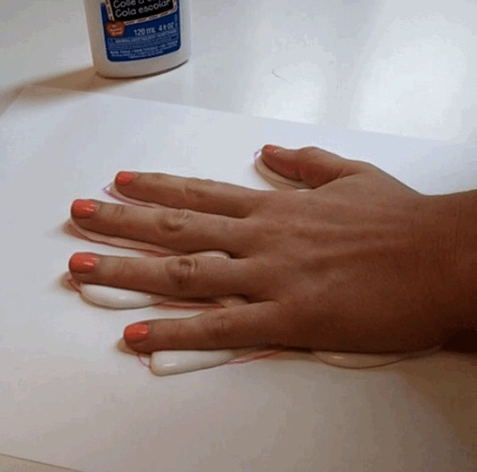 6. Mush your hand in the glue. This is the part of the gift for you, peeling it all off