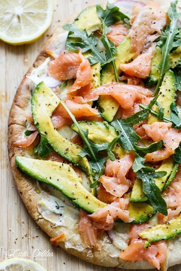 19. Smoked Salmon and Avocado Pizza
