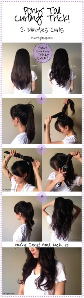 19. Curl your hair in, like, one minute by putting your hair into a ponytail and dividing and conquering two or three sections.