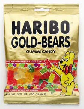 1 pack of gummy bears (or gummy worms) your choice of colors or brand