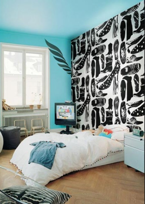 If you want wallpaper on your walls put it on one wall, preferable the wall the headboard of your bed will be agents.