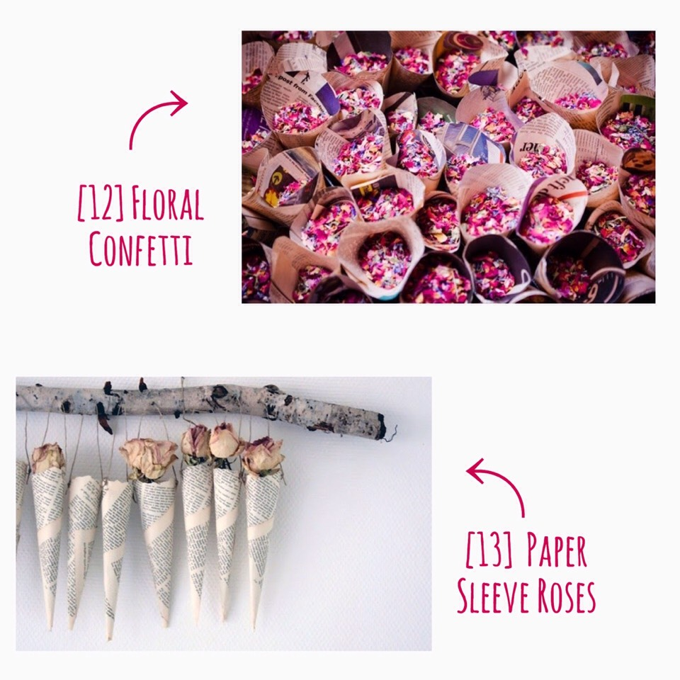 For both of these, newspaper is used; it's rolled into a cone shape. Simply create a cone out of newspaper or old book pages, add twine & confetti, or roses & hang them up! The log is a beautiful, rustic touch! The possibilities are endless!  Check out this bride's sorry about her wedding! You can find info about the FLORAL CONFETTI HERE | http://bridalmusings.com/2013/01/handmade-rustic-barn-wedding-with-a-festival-theme-sarah-legge-photography/