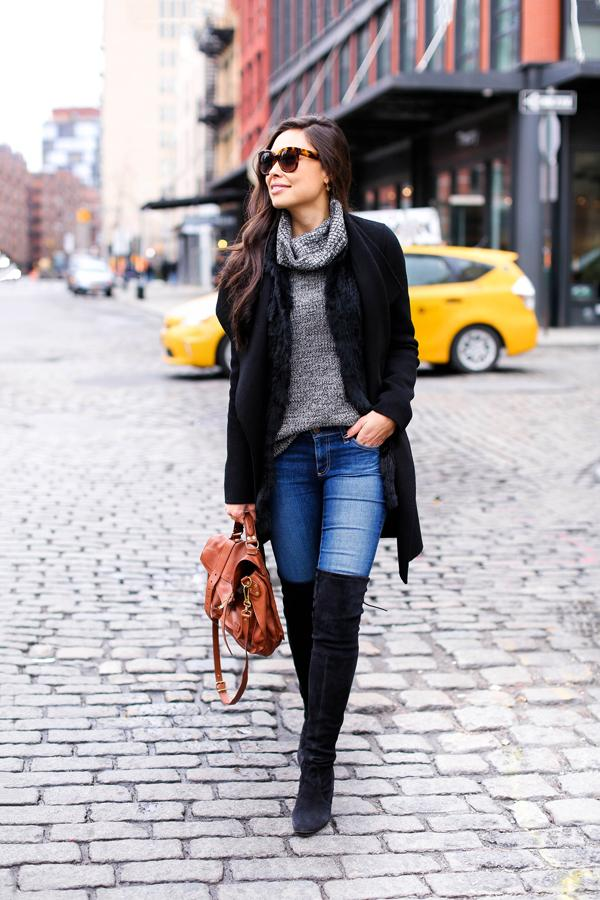 Match your boots with your coat to tie your outfit together.