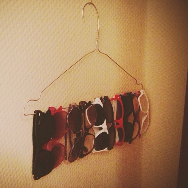 Hang your sunglasses on a hanger instead of putting them on a shelf saves a lot of space.