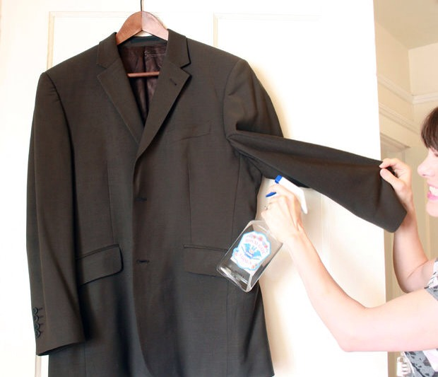 Dilute vodka with water and put in a spray bottle. Use this solution to freshen up clothes between trips to the dry cleaners.