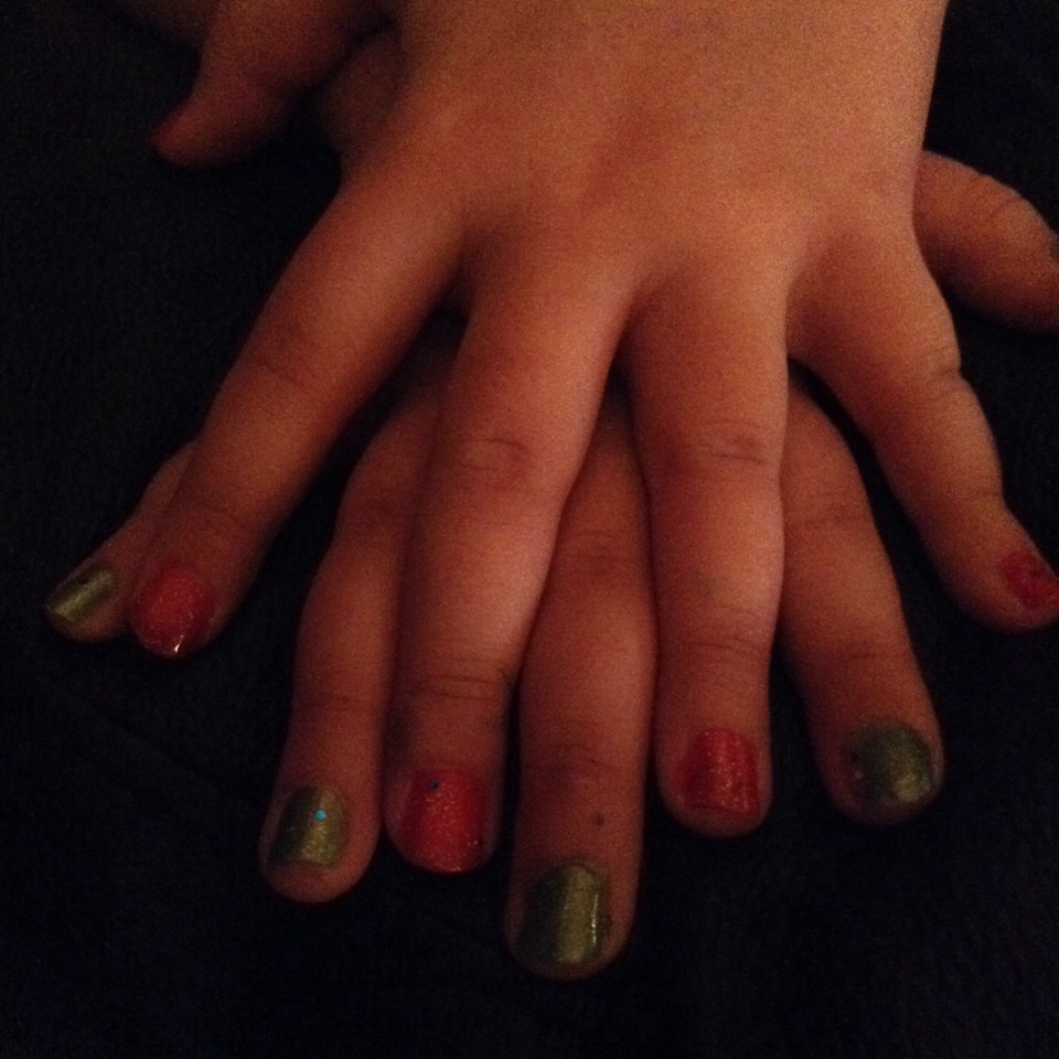 Always match your nails with the holiday! Christmas is what theme this is you could tell!