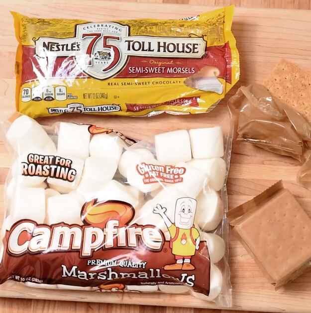 Start with the big three: chocolate chips, jumbo marshmallows, graham crackers.