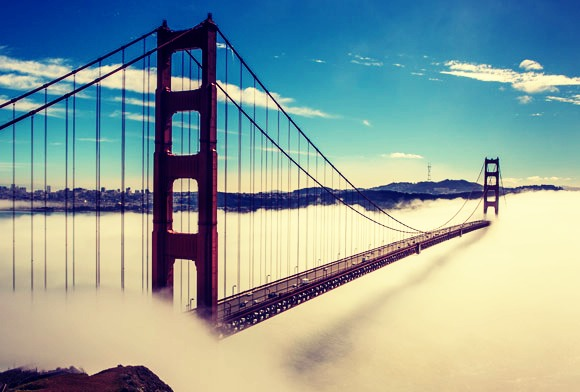 The Golden Gate Bridge- A beautiful bridge that looks over the bay.You can drive or walk over it.