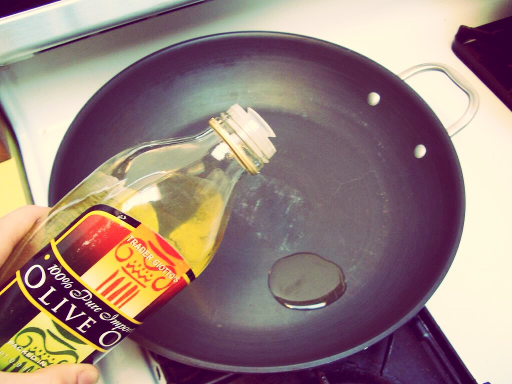Then put 1-2 table spoons of oil in a frying pan and heat