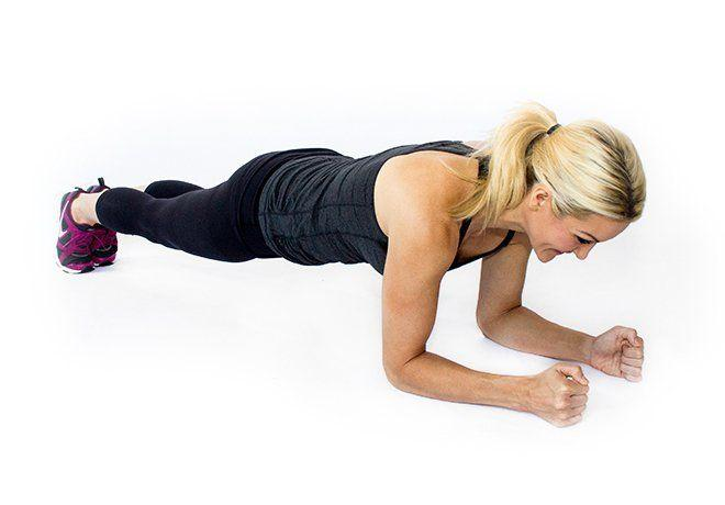 Planks: Planks are one of the most reliable and trustworthy core exercises, primarily because they hit nearly all of the muscles of your abs! Make sure you keep your butt down, and your back as flat as possible.  Beginner: 3 one-minute planks Advanced: 3 two-minute planks