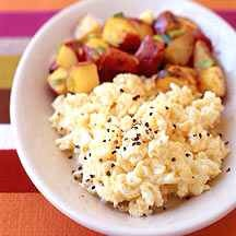 Breakfast idea #2 3 scrambled egg whites cooked in 1 tsp of butter, sea salt and pepper. Optional - incorporate spinach, peppers, onions, broccoli, or other veggies of your liking. Serve with sautéed Rosemary potatoes and a cup or freshly squeezed orange juice