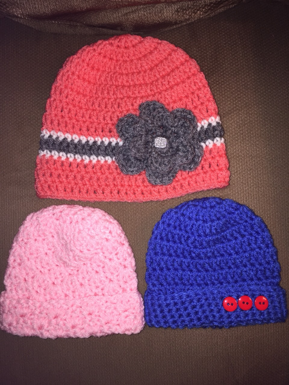 Selling baby and adult hats. can make boot cuffs, scarves, blankets, head bands. CAN SHIP ANYWHERE IN THE U.S