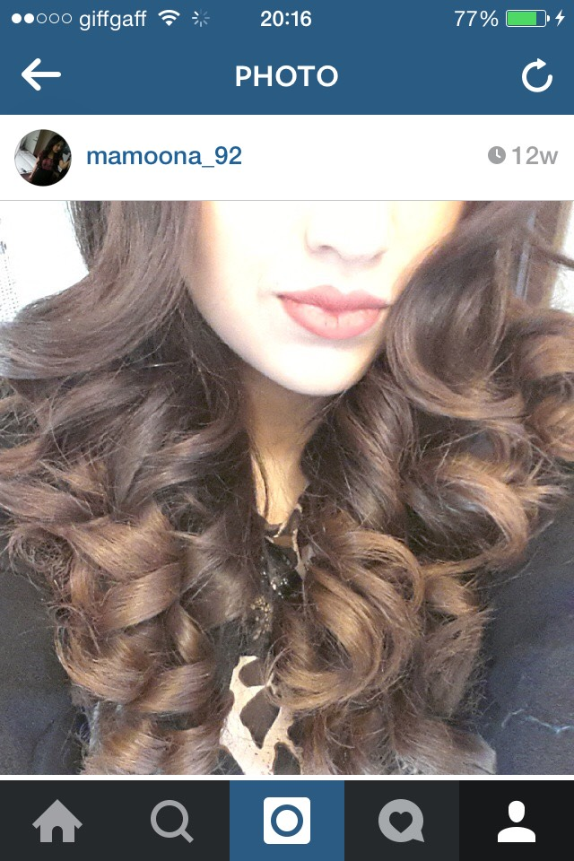 My hair, curled by the Remington Ceramic Slim Straightener   Picture from my Instagram