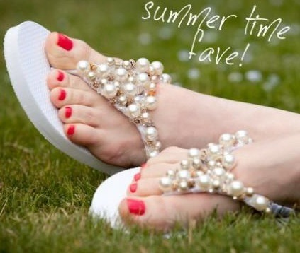 Step 3: Use your hot glue to attach the beads and bells to your flip flops in any order or style you wish and… Voila, your flip flops look HOT!