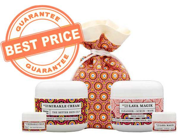 Get the Best Price Guarantee on Better Skin Co.If you want the set that will give you smoother, brighter, and more youthful looking skin, get the Double Take Better Skin Mirakle Cream and Lava Magik bundle, exclusively on Musely for just $58 (a $78 value!)The Double Take bundle includes:- Better Skin Mirakle Cream (2oz) AND Travel Size (.25oz)- Better Skin LAVA Magik (2oz) AND Travel Size (.25oz)- Printed Travel Bag
