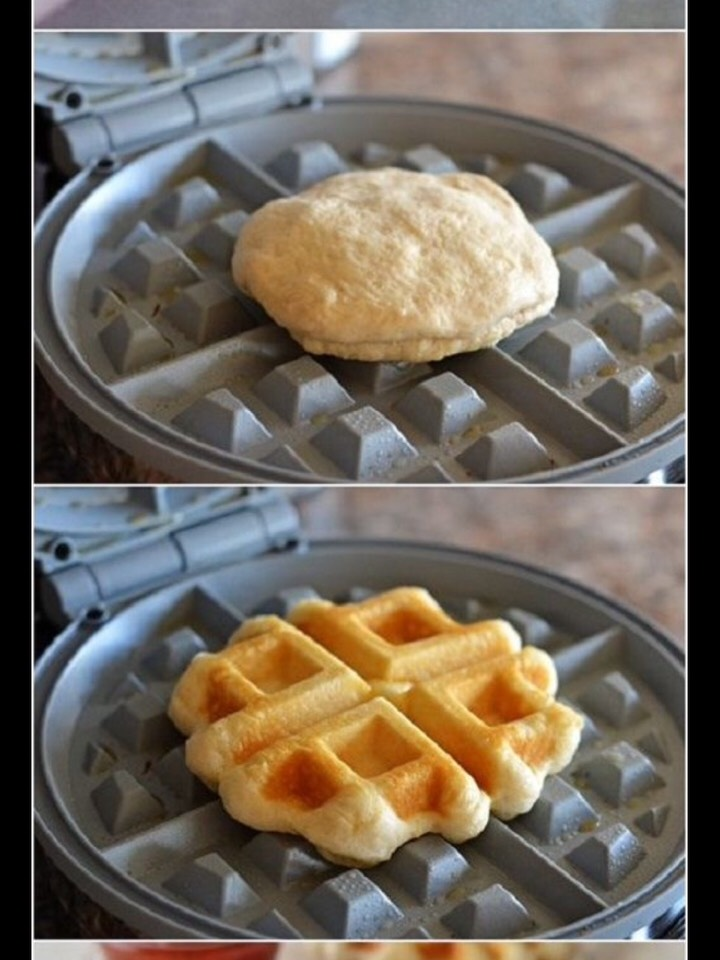 Step 3: close your piece of pizzadough again Step 4: put it in a waffle form thing