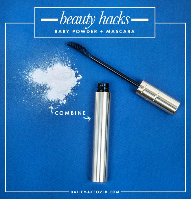 4. Apply baby powder before mascara for thicker-looking lashes.
