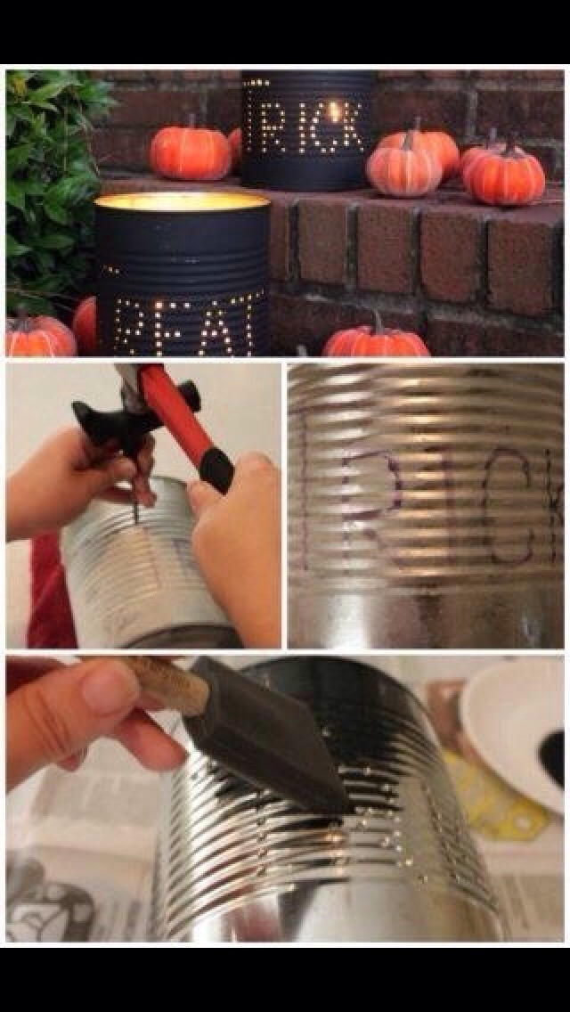 Take a big tin can and outline the design you want With a nail and hammer create holes of your design Then paint and add fake  (or real) candle inside