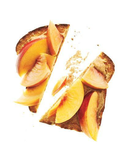 Whole-Grain Bread With Almond Butter and Peaches  Spread 2 teaspoons almond butter on 1 slice toasted whole-grain bread. Top with ½ sliced peach.  135 Calories   3g Fiber   6g Protein   7g Fat