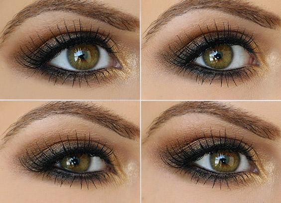 Gold and brown come together to create a perfect daytime look.