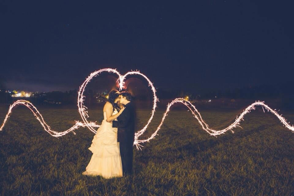 Night time shot with sparklers