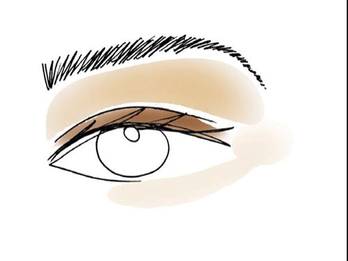 5.  Sweep the light, pearly shadow around the corners of your eyes to make them seem larger (you can even dust a little under your lower lashes to offset dark circles).